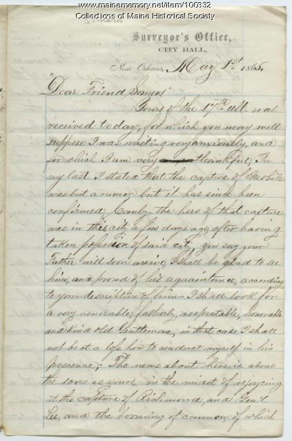 Letter on end of war, Lincoln's death, New Orleans, 1865