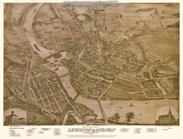 Bird's eye view of the city of Lewiston & Auburn, 1976