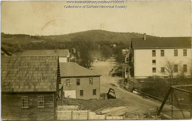 Entering Main Street from Webb's River Bridge, Dixfield, ca. 1900.