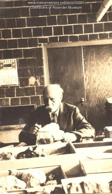 Olof O. Nylander in his work room, Caribou High School, 1936