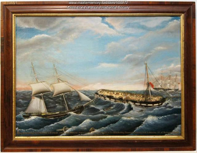The 'Harriet' rescuing passengers of the 'Unicorn', Newfoundland, ca. 1851