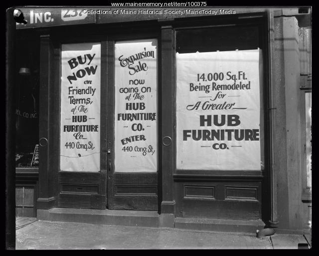 Hub Furniture Company Storefront Portland 1935 Maine Memory Network