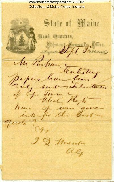 Letter regarding Pittsfield's Civil War enlistment quotas, Augusta, 1862