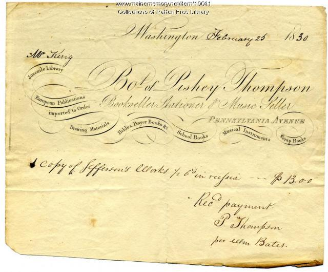William King receipt for Jefferson book, Bath, 1830