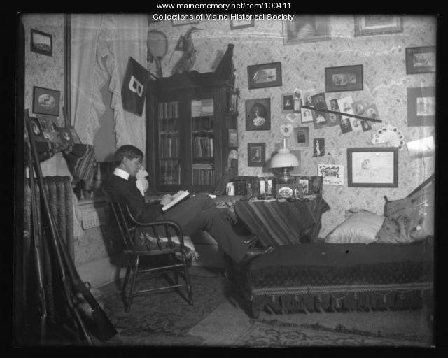 Dormitory room at Bates College, Lewiston, ca. 1901