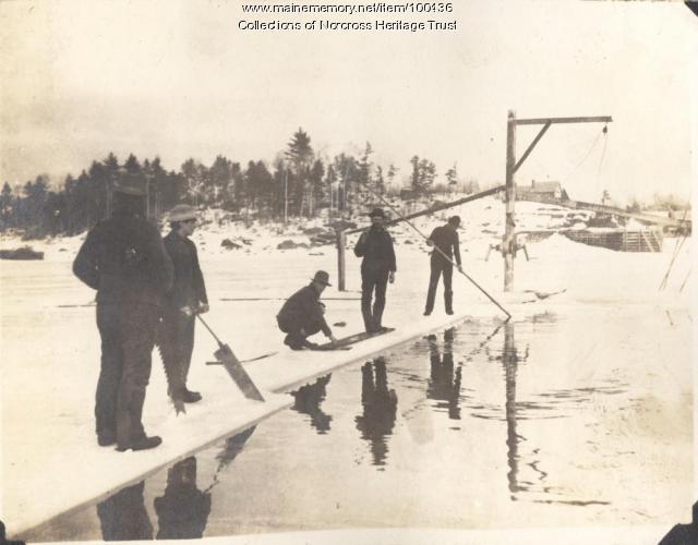Cutting ice, Norcross, ca. 1900