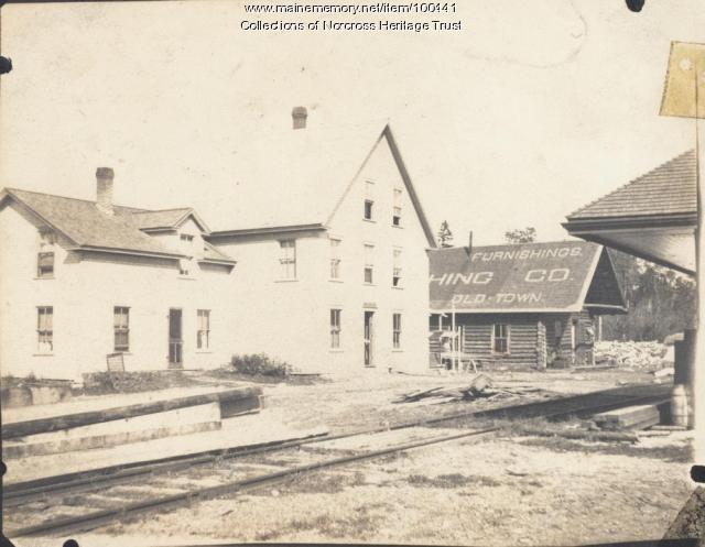 Norcross House, log camp, railroad station, Norcross, ca. 1905