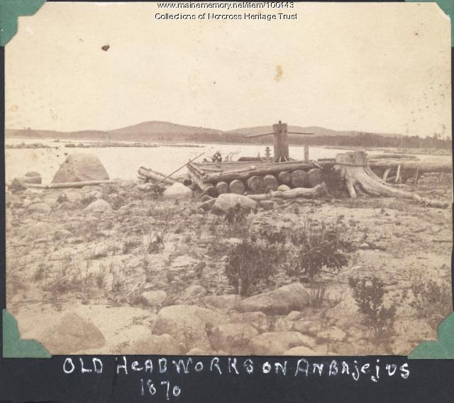 Old headworks, Ambajejus Lake, 1870