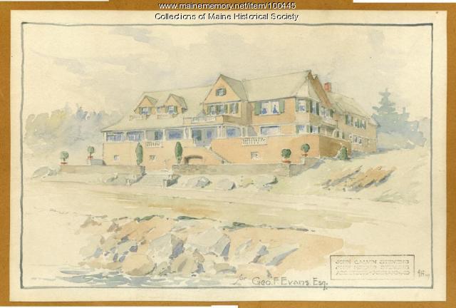 John Howard Stevens architectural watercolor, Portland, 1907