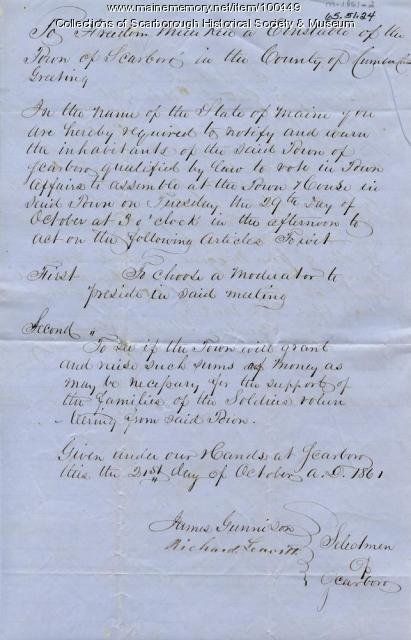 Town meeting notice, Scarborough, 1861