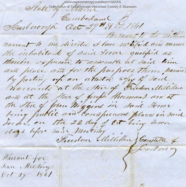 Town Warrant, Scarborough, 1861