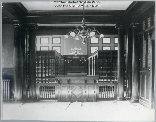 Lithgow book room and librarian's desk, Augusta, ca.1896