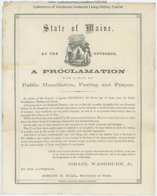 Proclamation for a Day of Public Humiliation, Fasting, and Prayer, Augusta, 1862