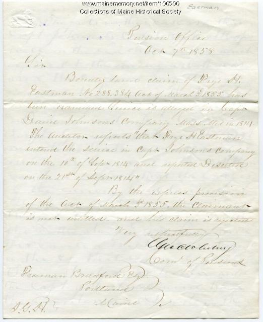 Frye H. Eastman War of 1812 bounty land claim, Portland, 1858