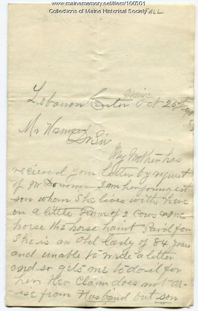Mary F. Fall Civil War pension request, Lebanon, 1890