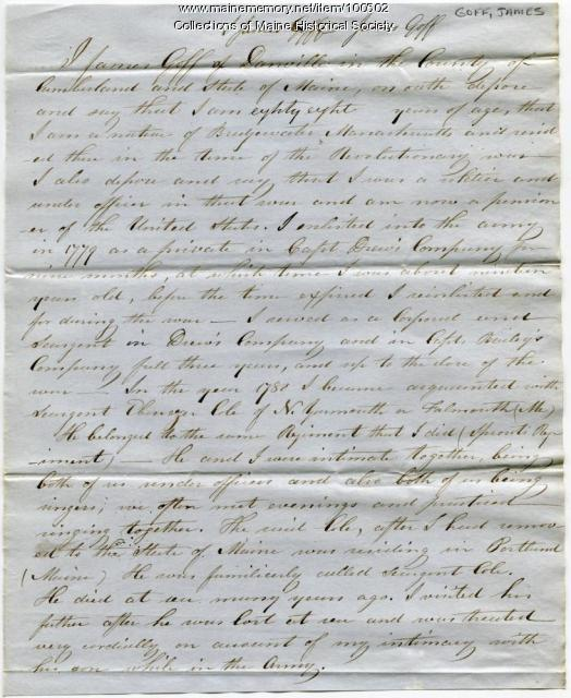 James Goff affidavit on Ebenezer Cole pension request, Danville, ca. 1848