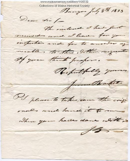 James Brackett note to Moses Greenleaf on slate vein, Bangor, 1833