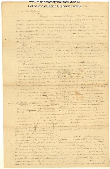 Moses Greenleaf to David James on slate, Williamsburg, 1834