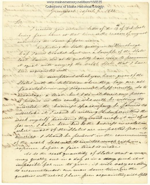 David James to Moses Greenleaf on slate, New York, 1834