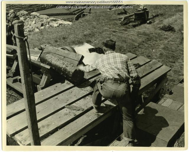 Loading pulp for transport to Pejepscot Mill, Westport Island, 1957