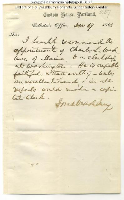 Israel Washburn Jr. recommendation for Charles Washburn, Portland, 1863