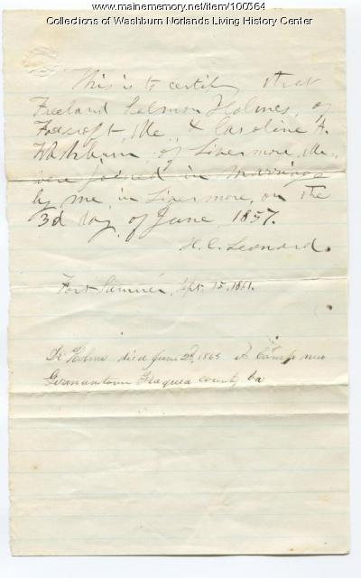 Caroline Washburn Holmes proof of marriage, Livermore, 1863