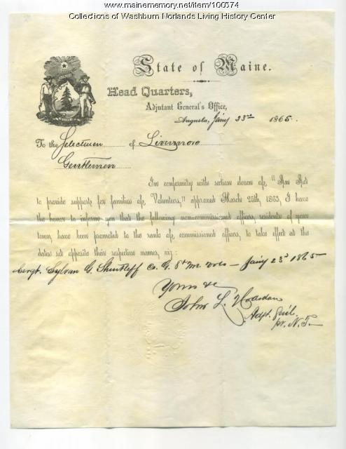 Sylvan G. Shurtleff Promotion, Livermore, 1865