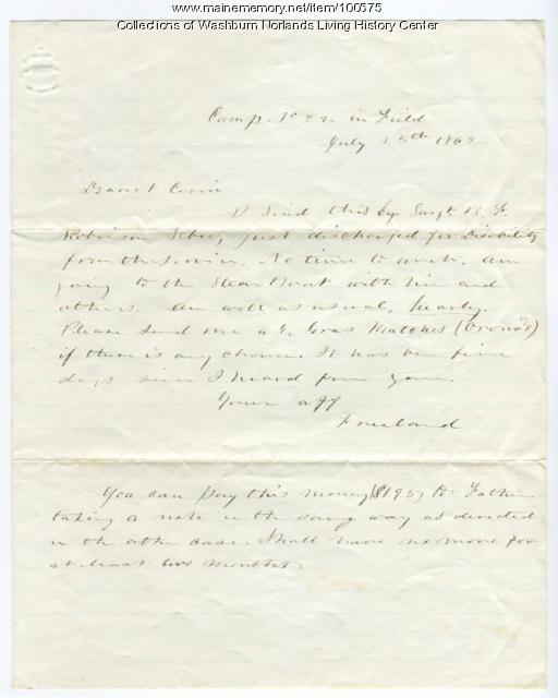 Freeland Holmes letter to Caroline Ann Washburn, Virginia, 1862