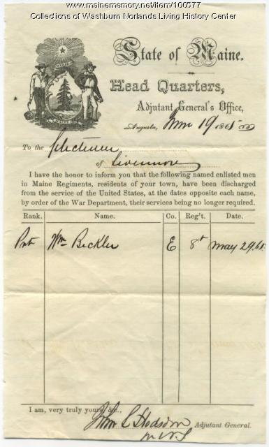 William Beckler's discharge document, Augusta, 1865