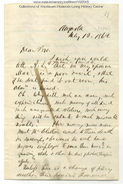 Israel Washburn to Elihu Washburne about Civil War policies, Augusta, 1862