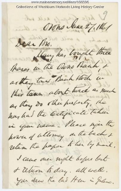 Israel Washburn on Civil War compromises, Orono, 1861