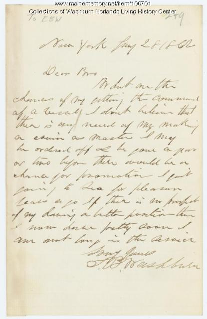 Samuel Washburn request for command, New York, 1862