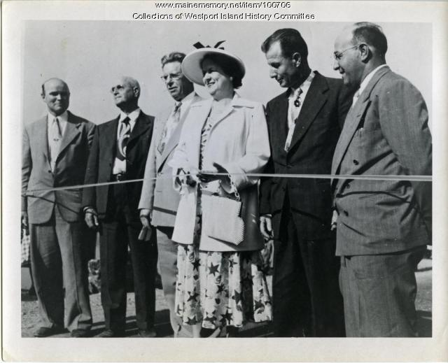 Causeway dedication ribbon cutting, Westport Island, 1950
