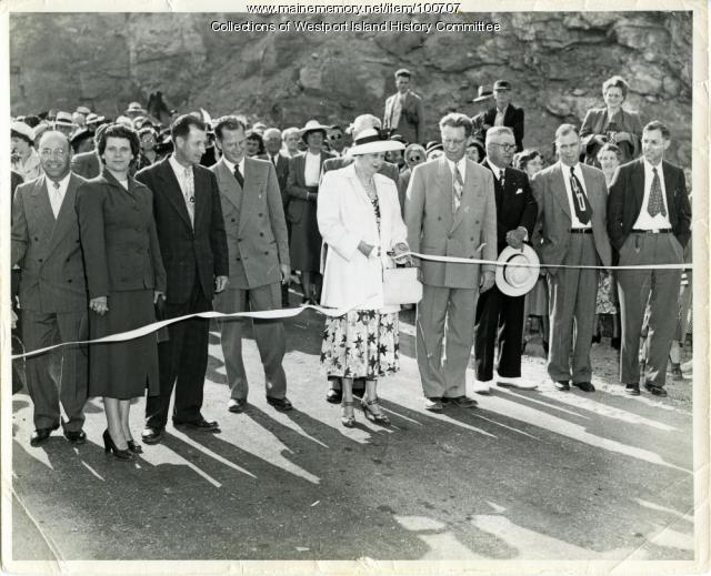 Ribbon cutting dedication, Westport Island Causeway, 1950