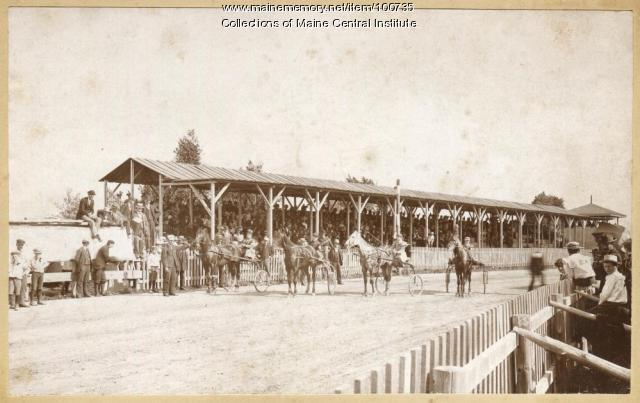 Female jockeys at trotting park, Maine, ca. 1898