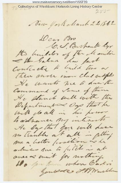Samuel Washburn request for ship's command, New York, 1862
