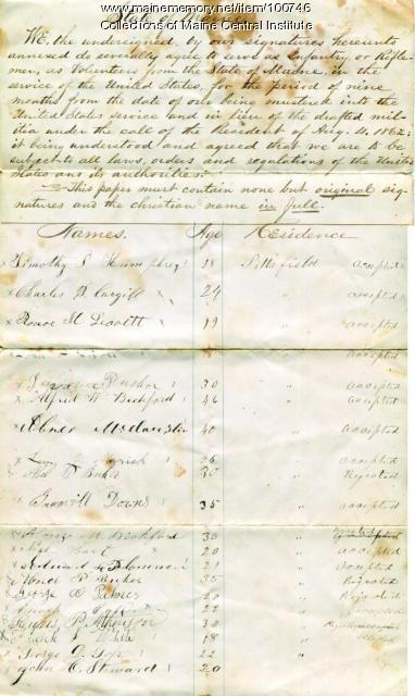 Volunteer enrollment list, Pittsfield, 1862