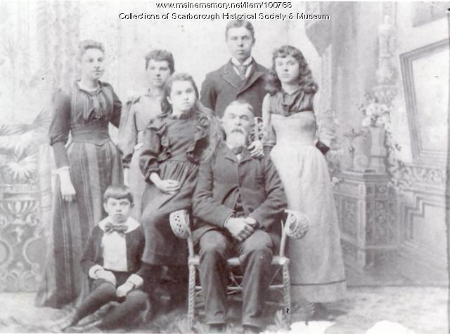 Melville Milliken and children, Scarborough, 1891