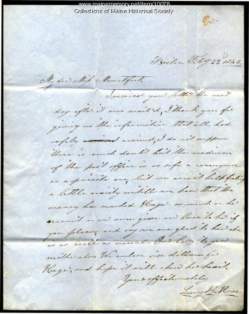 Letter from Leroy H. Huse to Elizabeth Mountfort, February 23, 1846