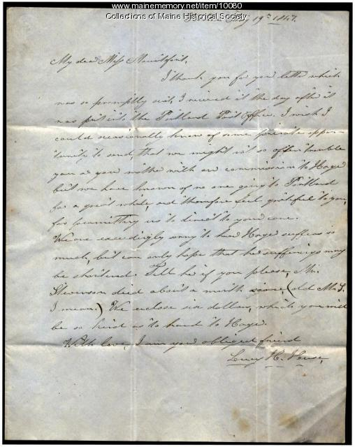 Letter from Leroy H. Huse to Elizabeth Mountfort, May 19, 1847
