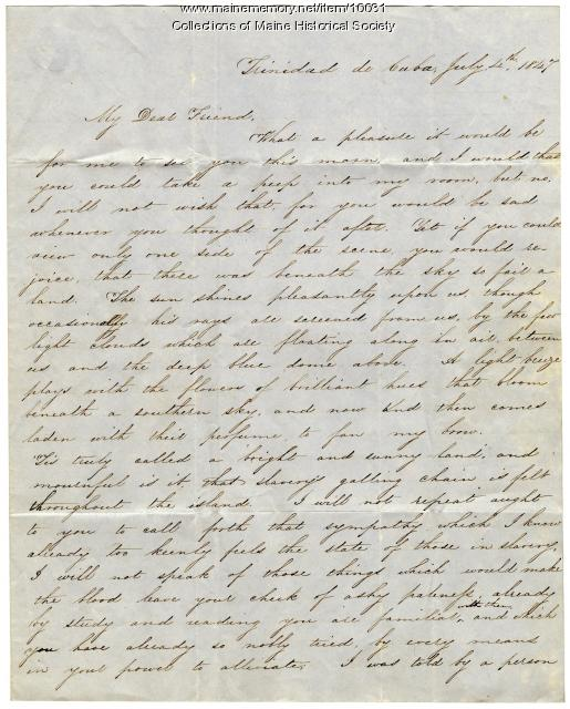 Letter to Elizabeth Mounfort from a friend in Trinidad, Cuba, July 4, 1847