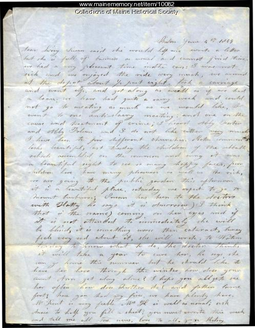 Letter from Betsey to Elizabeth Mountfort, June 4, 1849