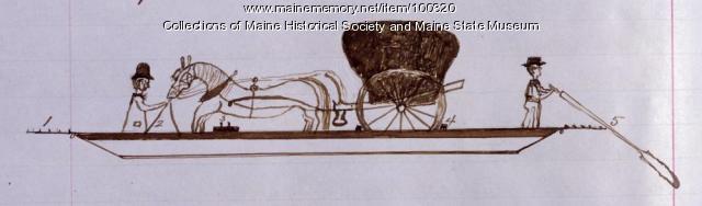 Old Bill, gundalow crossing Penobscot River, Bangor, 1846