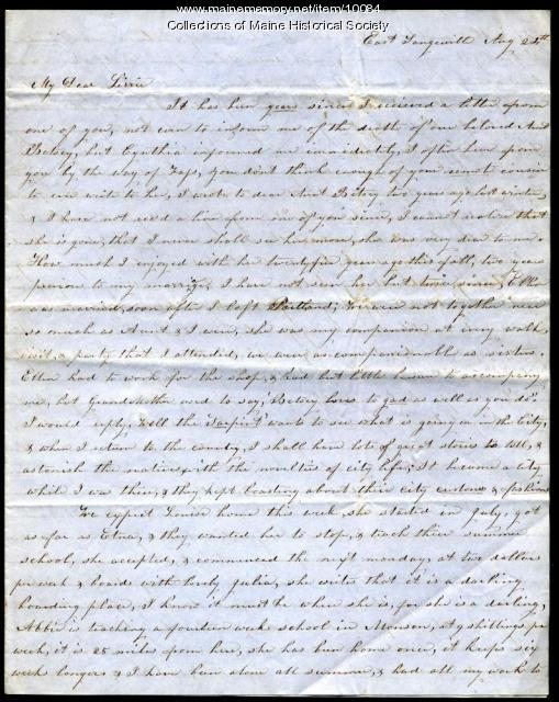 Letter from Abby Campbell to Elizabeth Mountfort, c. 1860