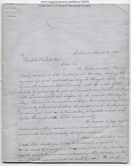 Portland Anti-Slavery Society Letterbook, 1850-51