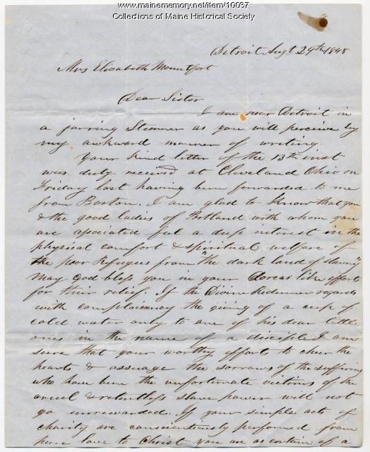 Letter from Hiram Wilson to Elizabeth Mountfort,  Aug. 29, 1848