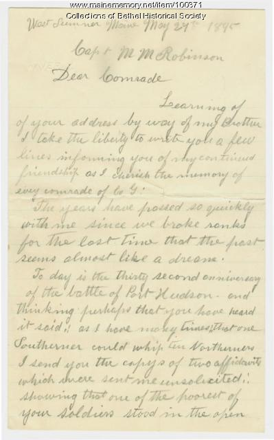Henry H. Maxim letter on Civil War service, West Sumner, 1895