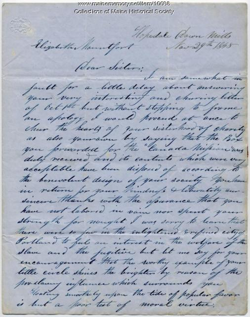 Hiram Wilson letter to Elizabeth Mountfort, Nov. 29, 1848