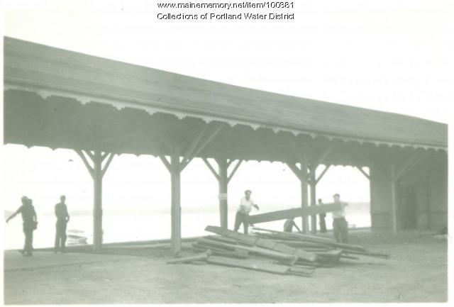Sebago Lake Station being dismantled, Standish, ca. 1935