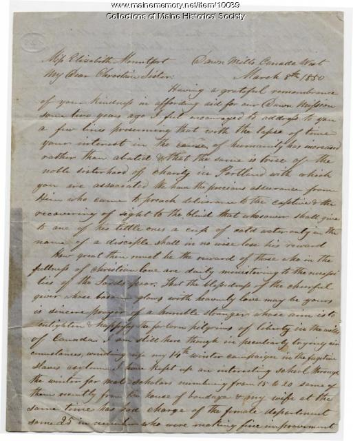 Letter from Hiram Wilson to Elizabeth Mountfort, March 8, 1850